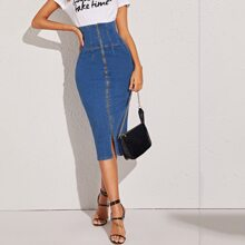 Jeans Rock mit hoher Taille