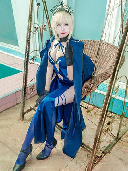 Milanoo Fate Grand Order Ruler Altria Cosplay Costume Black Saber Satin 6 Pieces Cosplay Set Halloween