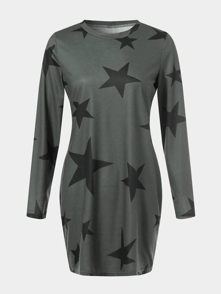 Yoins Casual Star Pattern Round Neck Long Sleeves Mini Dress