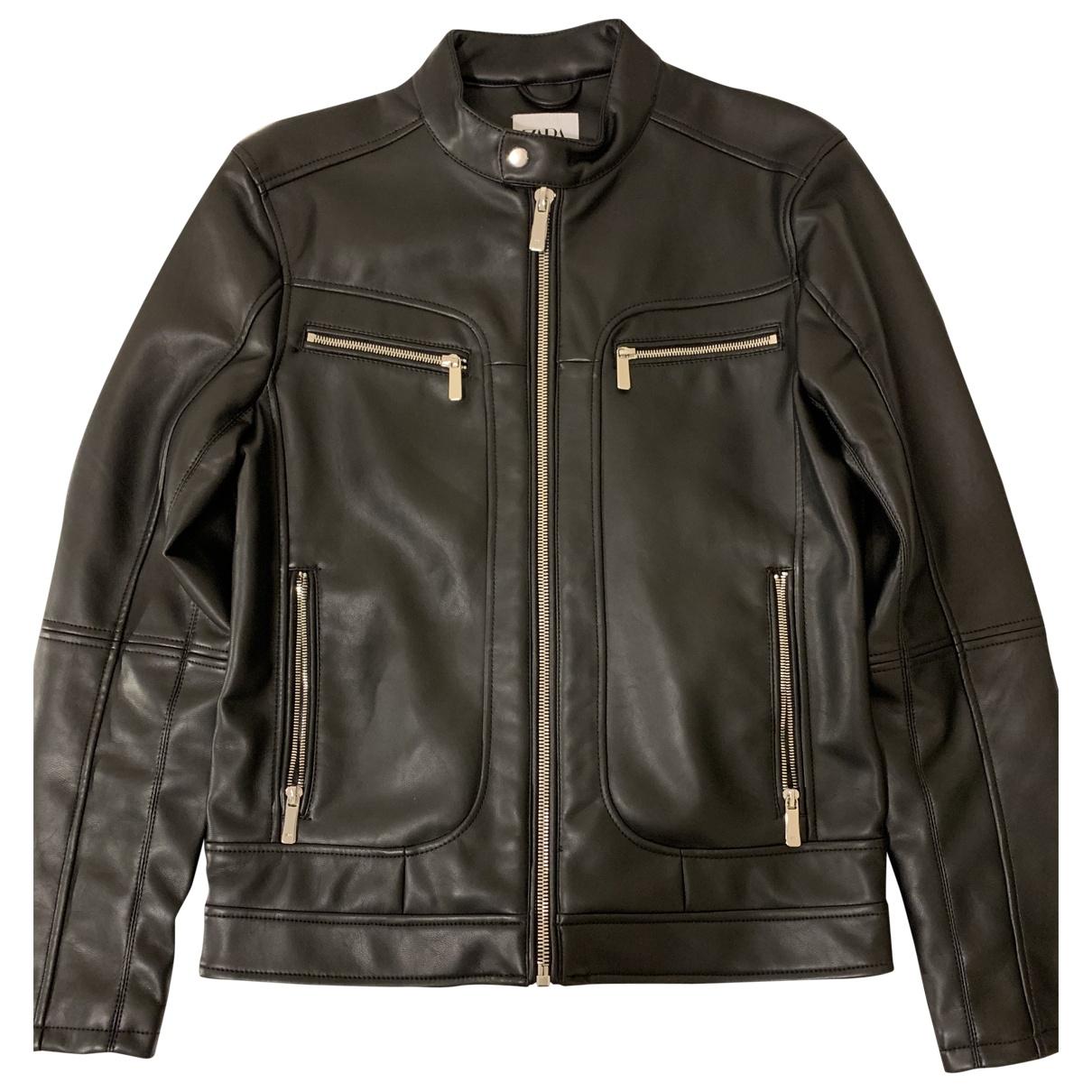 Zara - Vestes.Blousons   pour homme en cuir - noir