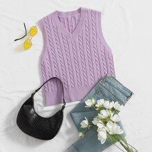 V Neck Cable Knit Sweater Vest
