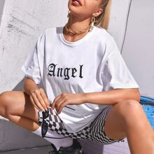 Letter And Wings Print Oversized Tee