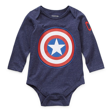 Okie Dokie Baby Boys Captain America Bodysuit, 12 Months , Blue