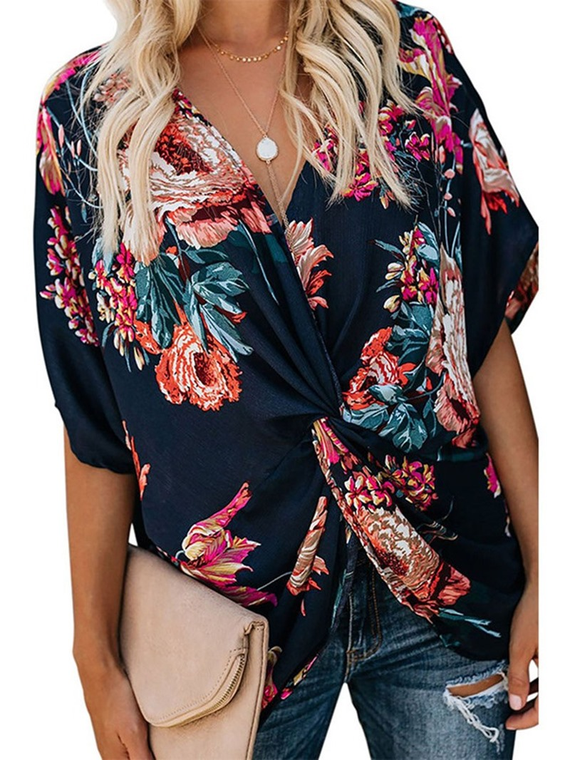 Ericdress V-Neck Pleated Floral Flare Sleeve Casual Blouse