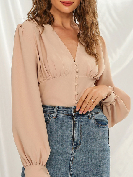 Milanoo Blouse For Women Apricot Buttons V Neck Puff Sleeves Vintage Tops