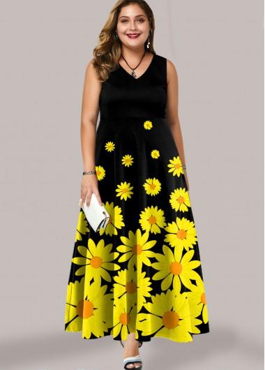 Sleeveless Plus Size Daisy Print Maxi Dress - 3X