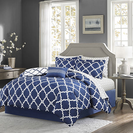 Madison Park Essentials Cole Complete Bedding Set with Sheets, One Size , Blue