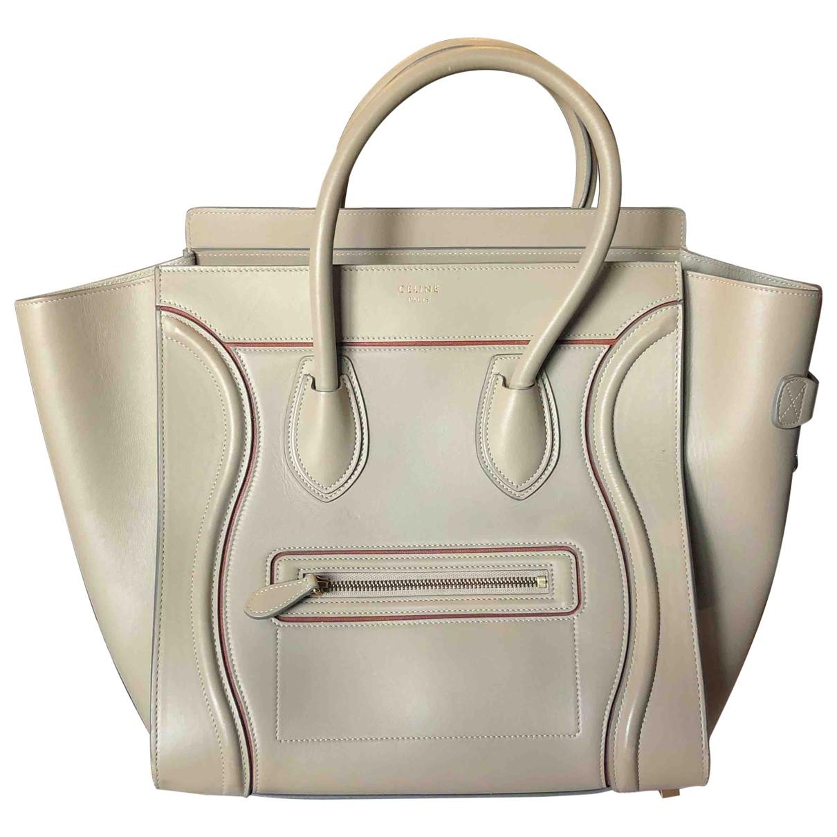 Celine - Sac a main Luggage pour femme en cuir - gris
