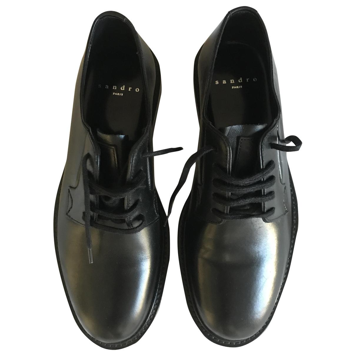 Sandro - Derbies   pour homme en cuir - noir