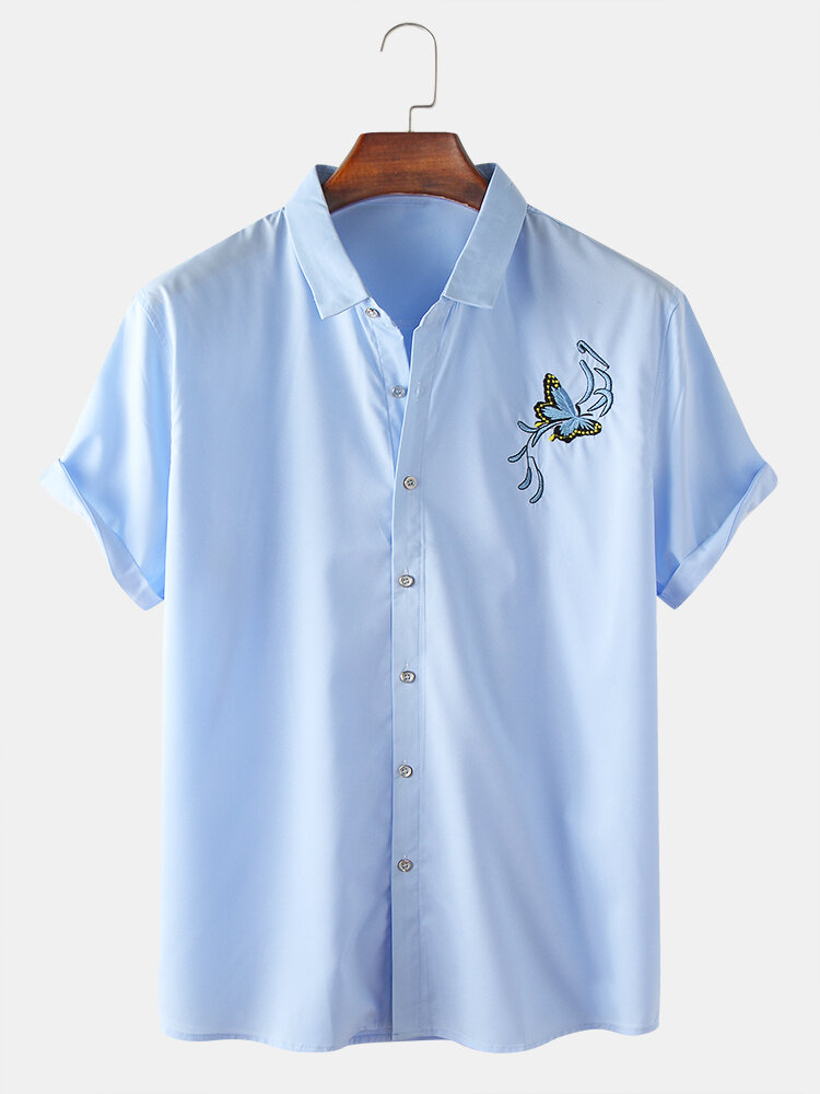 Mens Butterfly Embroidery Business Slim Shirt Collar Shirt