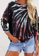 Tie Dye O-Neck Blouse - Black