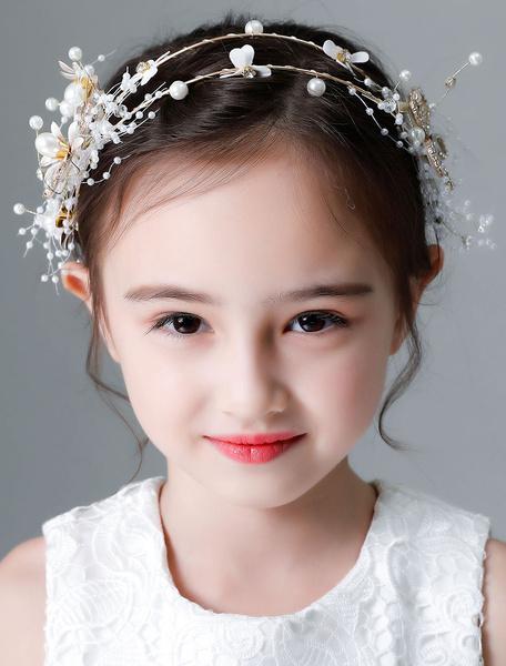 Milanoo Flower Girl Headpieces White Pearls Rhinestones Headband Kids Hair Accessories