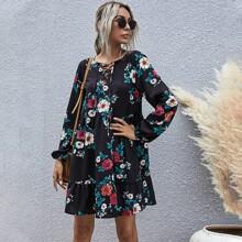 Babydoll Kleid mit Blumen Muster, Band und Bischofaermeln