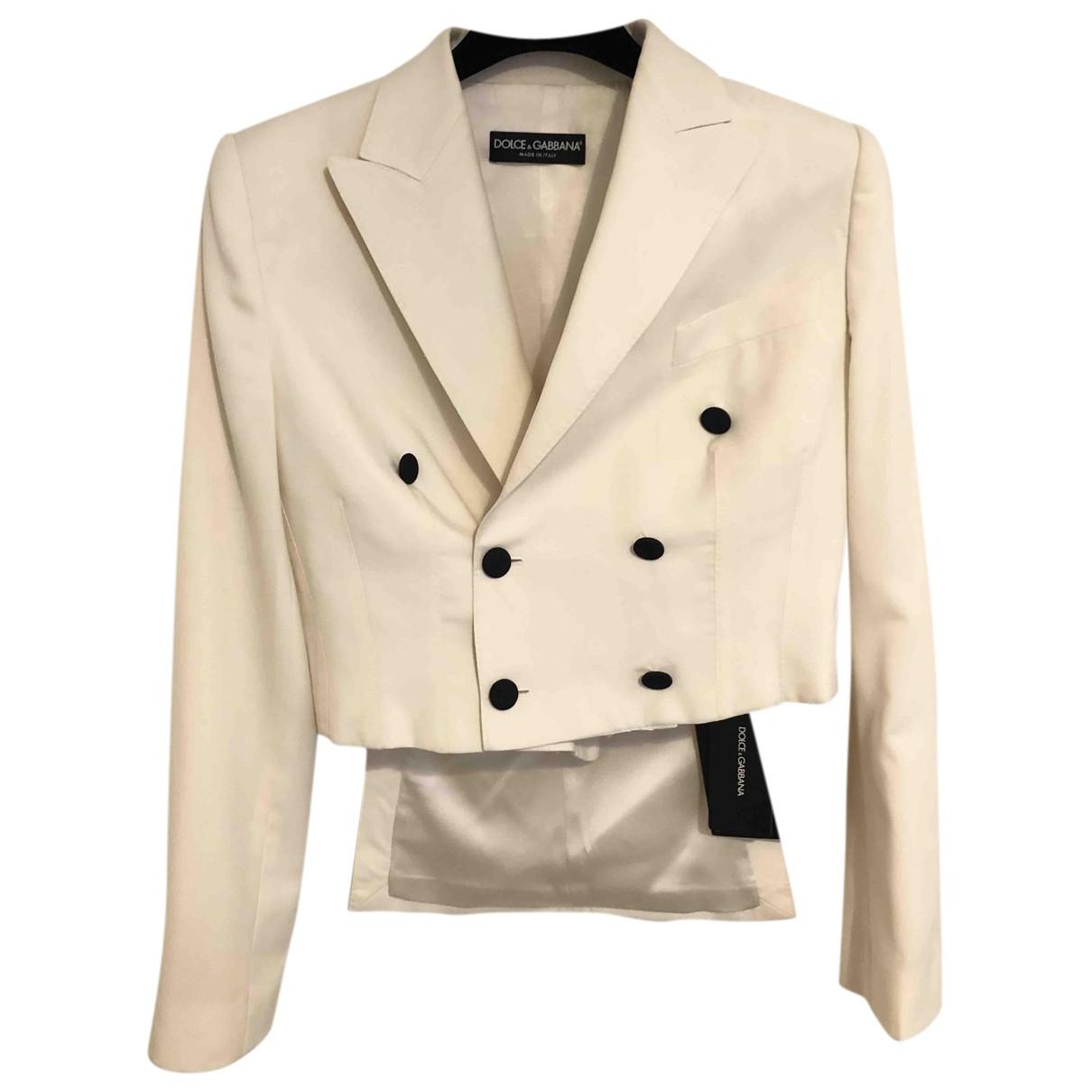 Dolce & Gabbana - Veste   pour femme en laine - blanc