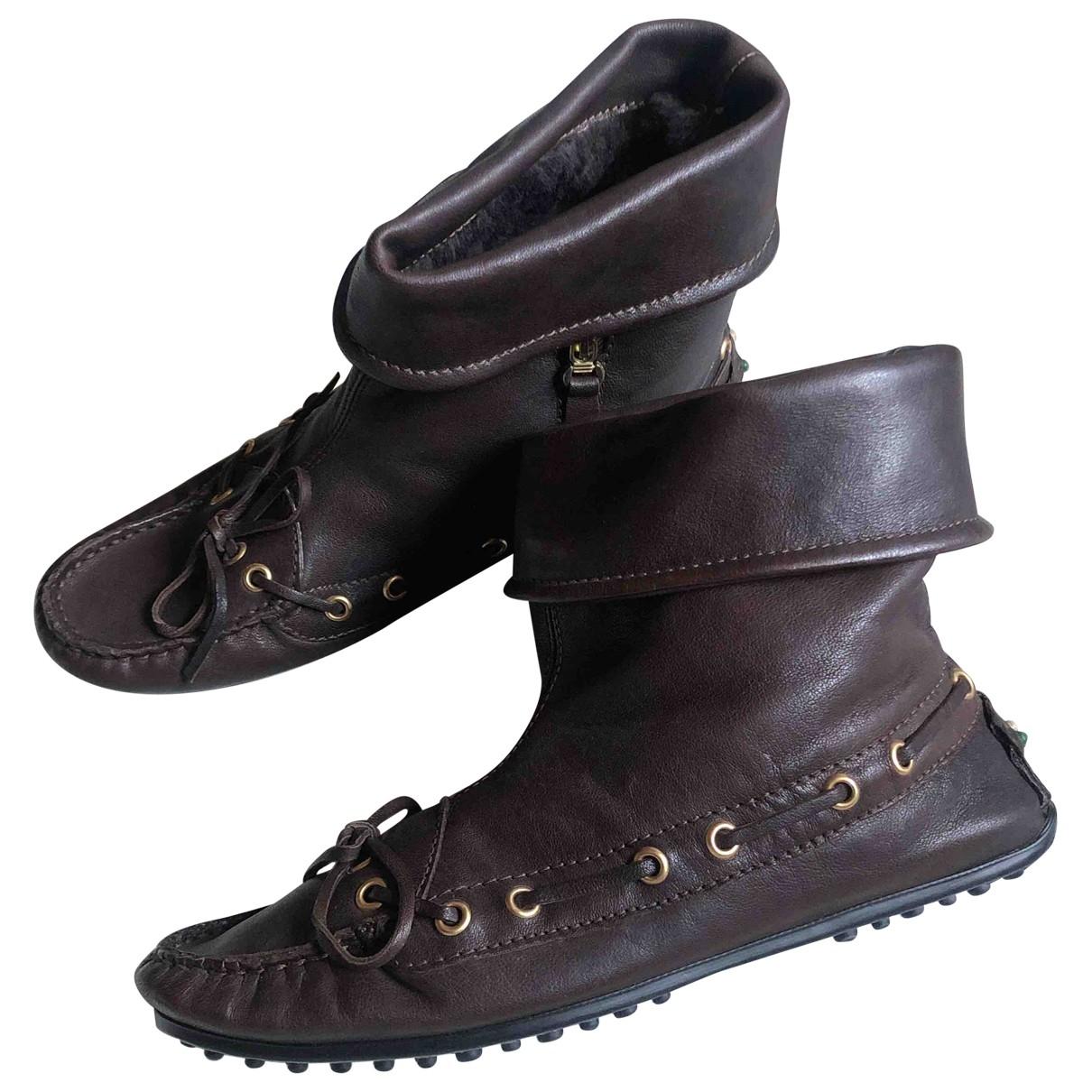 Serafini - Boots   pour femme en cuir - marron
