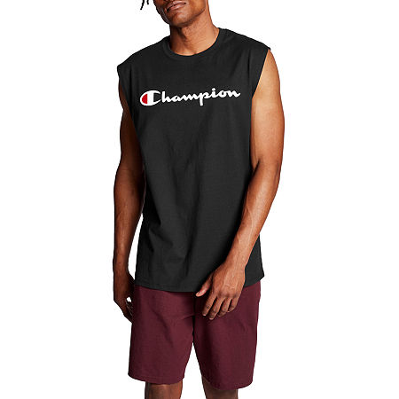 Champion Classic Graphic Mens Crew Neck Sleeveless Muscle T-Shirt, Large , Black