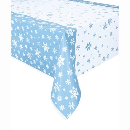 Snowflakes Rectangular Plastic Table Cover, 54 x 84