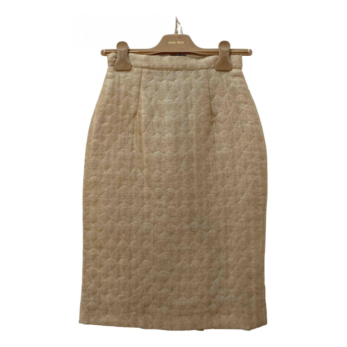 Miu Miu - Jupe   pour femme en soie - beige