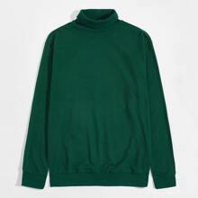 Einfarbiges Sweatshirt mit Stehkragen