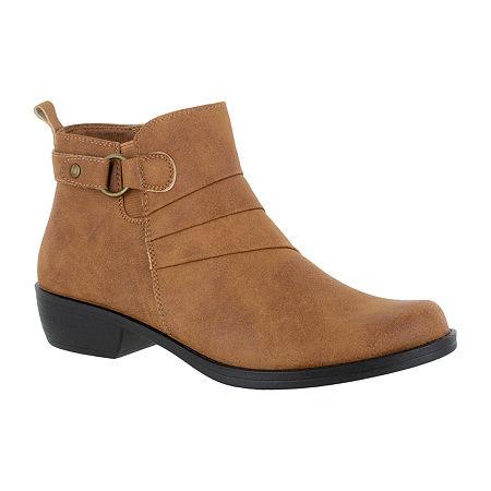 Easy Street Womens Shanna Booties Block Heel, 5 1/2 Medium, Brown