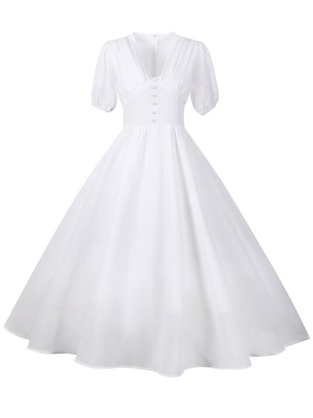 Milanoo Retro Dress 1950s V-Neck Red Short Sleeves Woman\'s Long Vintage Dress Swing Dress