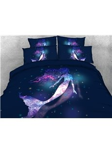 Galaxy Mermaid Soft Lightweight 3D Animal Duvet Cover Set 4Pcs Bedding Set
