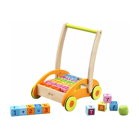 Classic Toy Wooden Baby Walker With Blocks, One Size , Orange