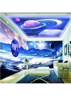 Amazing Mars Surface and Planets Pattern Design Combined 3D Ceiling and Wall Murals