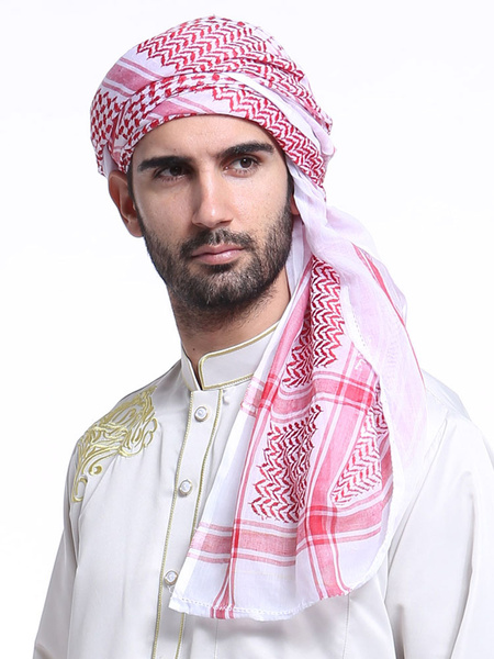 Milanoo Arabian Men Hijab Plaid Muslim Kerchief Polyester Hijab Wrap