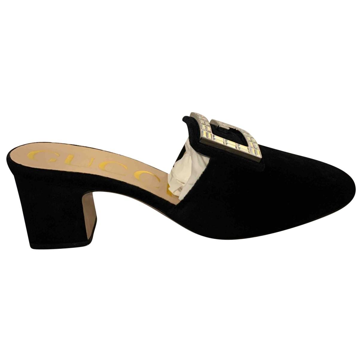 Gucci - Sabots   pour femme en velours - noir
