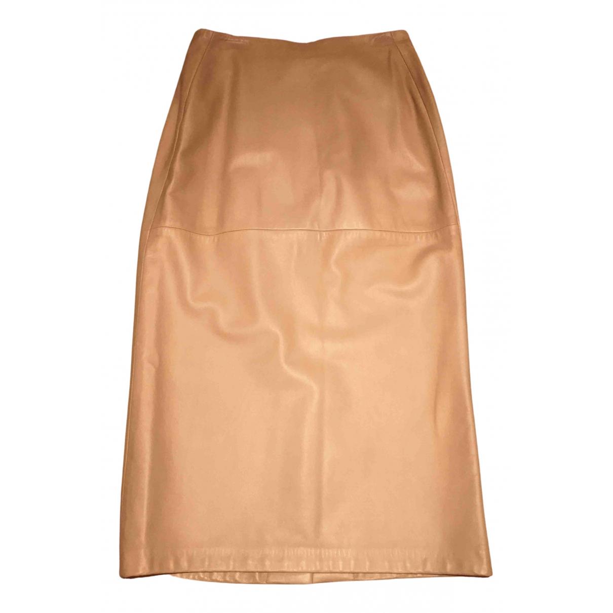 Donna Karan - Jupe   pour femme en cuir - camel