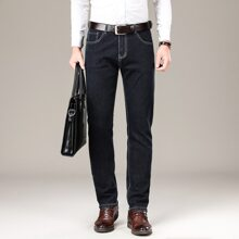 Men Solid Straight Leg Jeans Without Belt