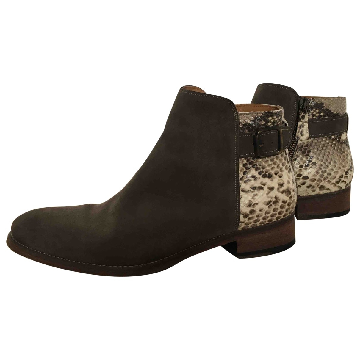 Anthology Paris - Boots   pour femme en cuir - gris
