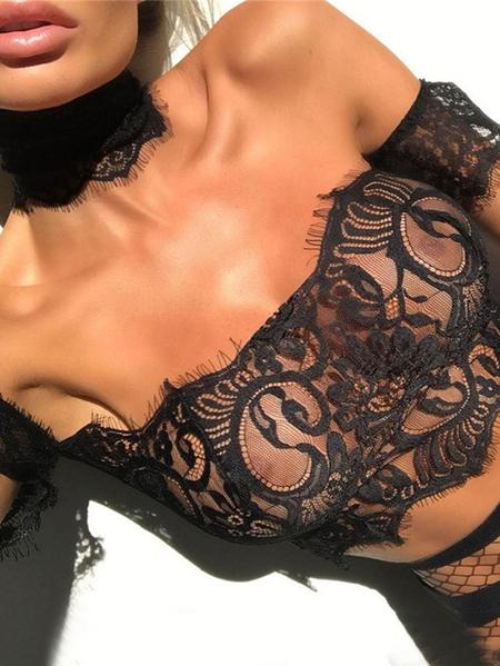 Yoins Lace Tube Top Short Sleeves Lingerie Set