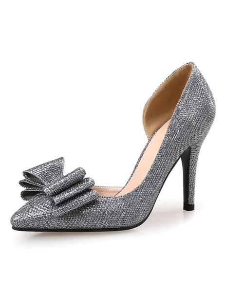 Milanoo Glitter Evening Shoes High Heel Silver Grey Pointed Toe Slip On Pumps With Bow