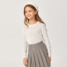 Girls Solid Diamond Knit Sweater