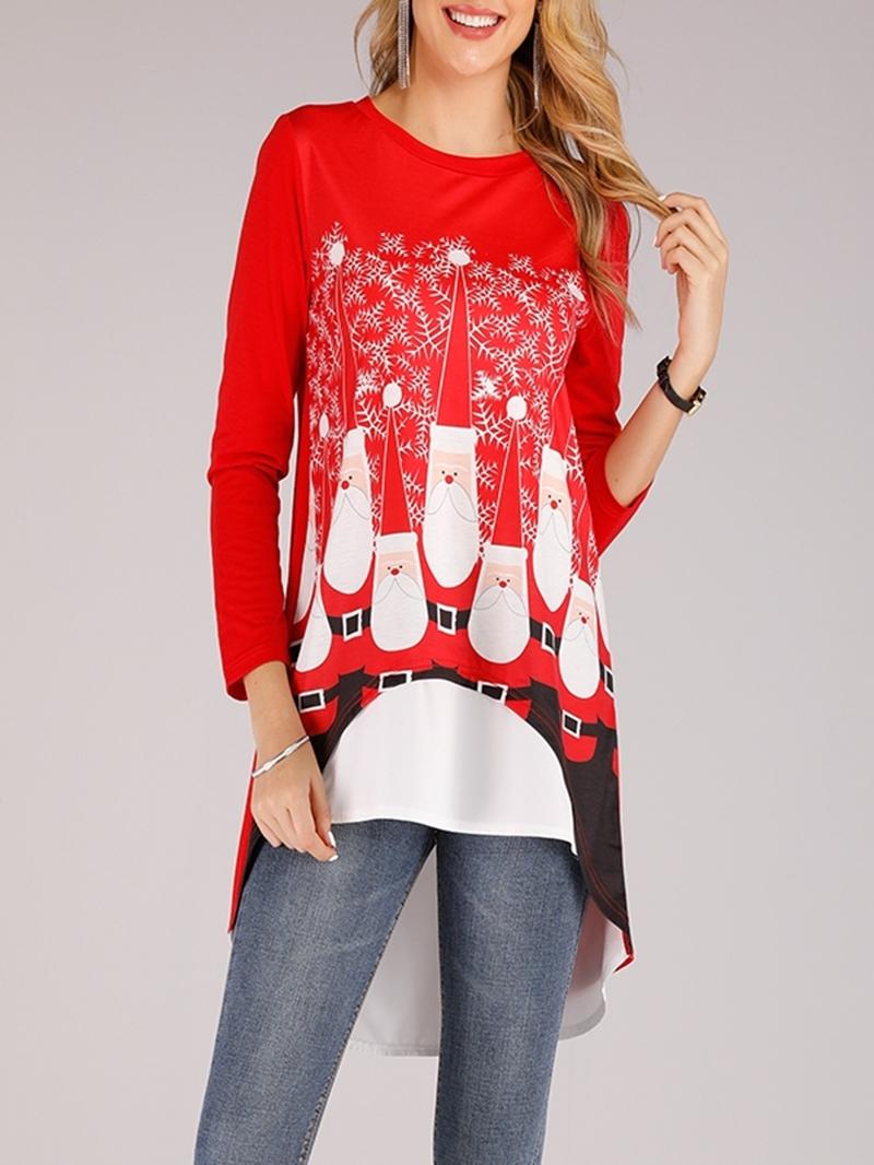 Ericdress Round Neck Long Sleeve Casual Christmas Women's T-Shirt