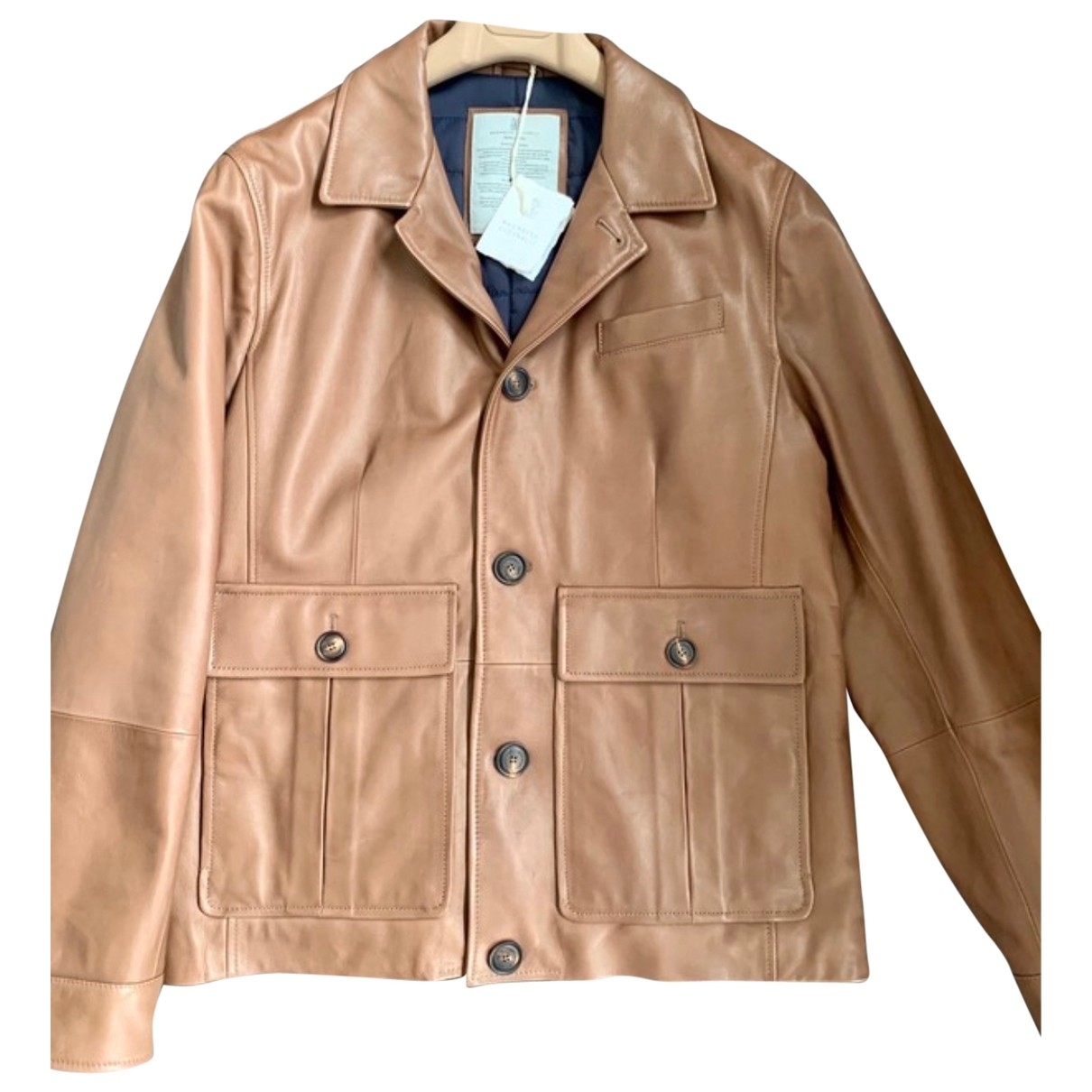 Brunello Cucinelli \N Camel Leather jacket  for Men 50 IT