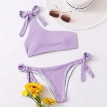 Gerippter Bikini Badeanzug mit einer Schulter und seitlichem Band