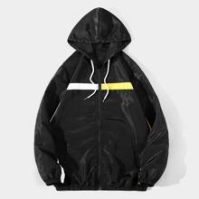Men Contrast Tape Drawstring Windbreaker Jacket