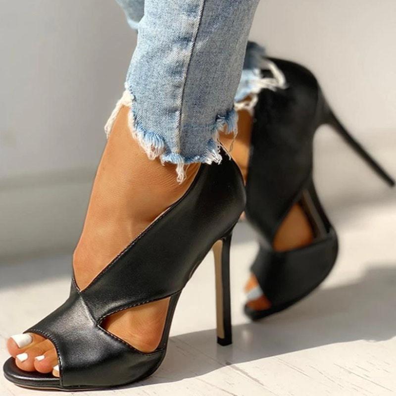Ericdress Slip-On Open Toe Hollow Ultra-High Heel(≥8cm) Thin Shoes
