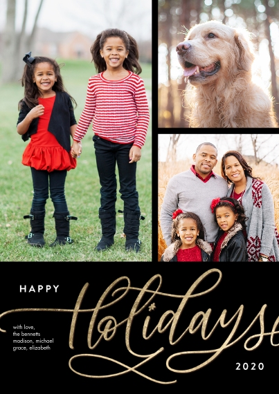 Christmas Photo Cards Flat Glossy Photo Paper Cards with Envelopes, 5x7, Card & Stationery -2020 Holiday Gold Script Memories by Tumbalina