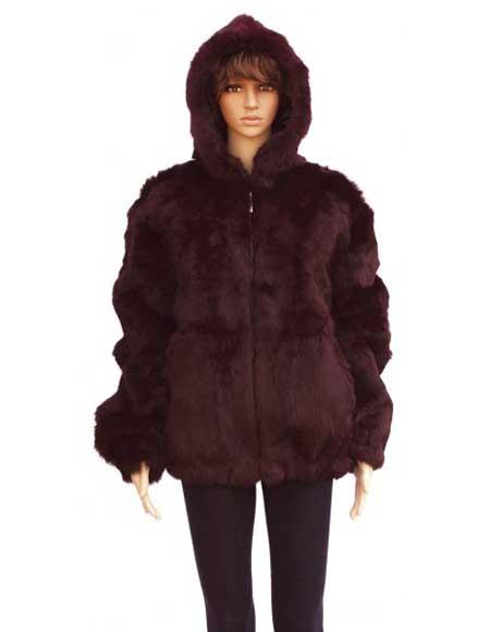 Fur Genuine Mink Burgundy Full Skin Rabbit Jacket