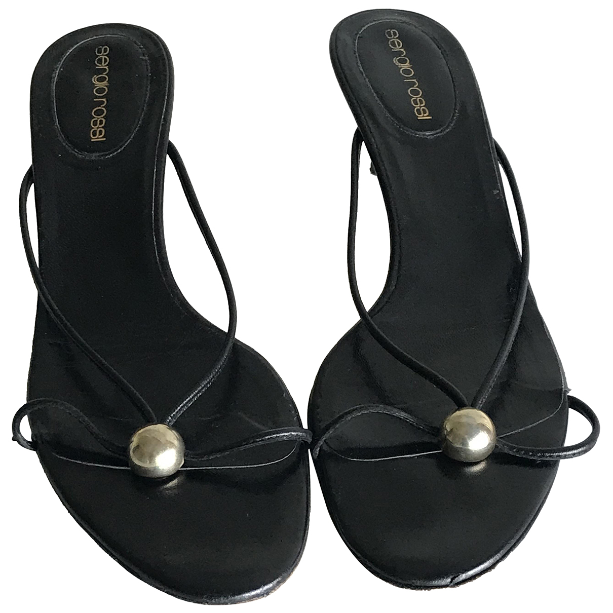 Sergio Rossi \N Black Leather Sandals for Women 38.5 IT