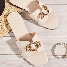 Chain Decor Cut Out Slide Sandals