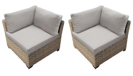 TKC015b-CS-DB-ASH Corner Chair 2 Per Box - Beige and Ash