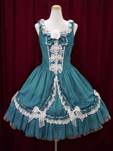 Milanoo Rococo Lolita Vestido JSK verde sin mangas de algodon Lolita Jumper Skirt�