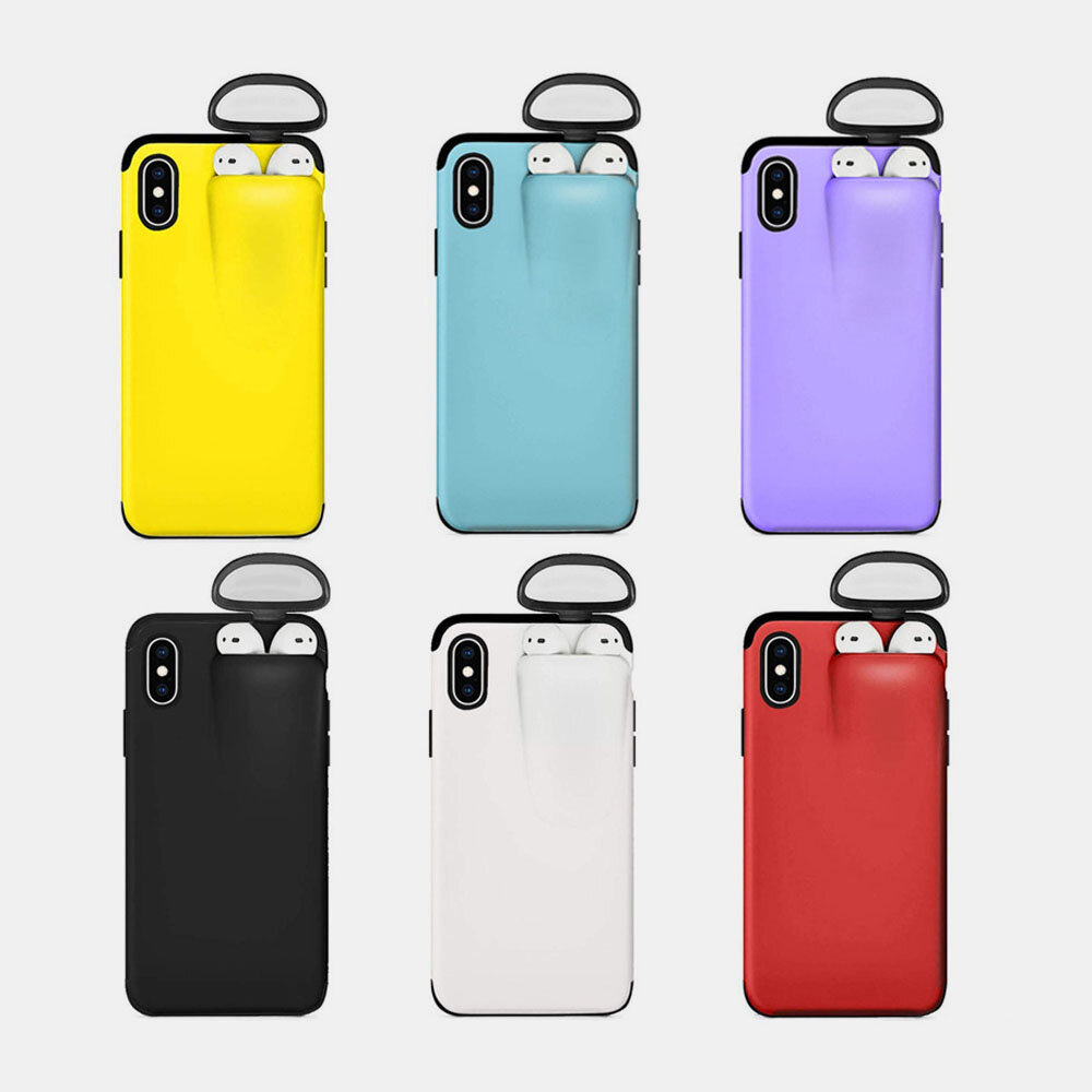 Women&Men Solid Color Mobile Phone Case Can Accommodate AirPods Headset Integrated Shell