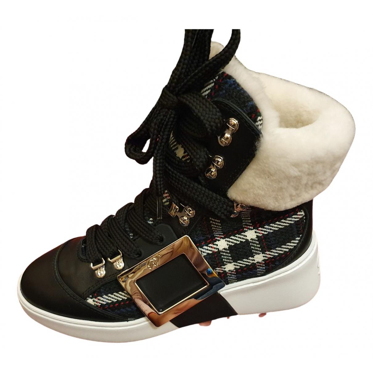 Roger Vivier - Boots Viv Skate pour femme en toile - noir