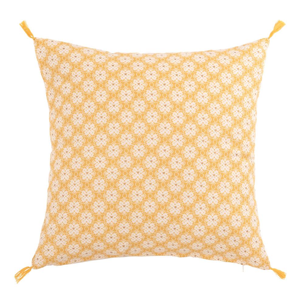 Kissenbezug aus Baumwolle, gelb mit grafischen Motiven 40x40